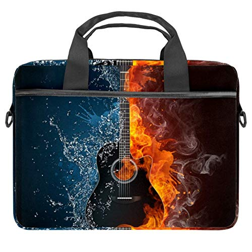 LORVIES Laptop-Tasche für Akustikgitarre im Feuer und Wasser, Schultertasche, Messenger-Tasche, Business-Tasche mit Tragegriff für 35,6 bis 39,1 cm Laptops