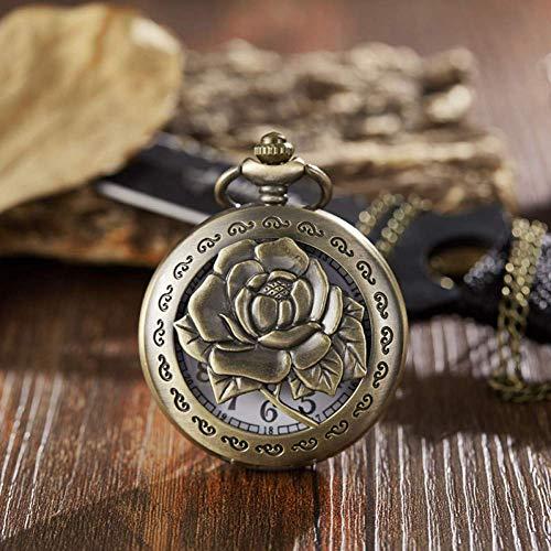 J-Love Reloj Bolsillo Retro, Reloj Bolsillo Antiguo, Cadena Fob, Flor, Rosa, Grabado, Reloj para Hombre, Caja Bronce con Tapa, Reloj, Relojes Masculinos Vintage para Hombres, Mujeres, Regalos