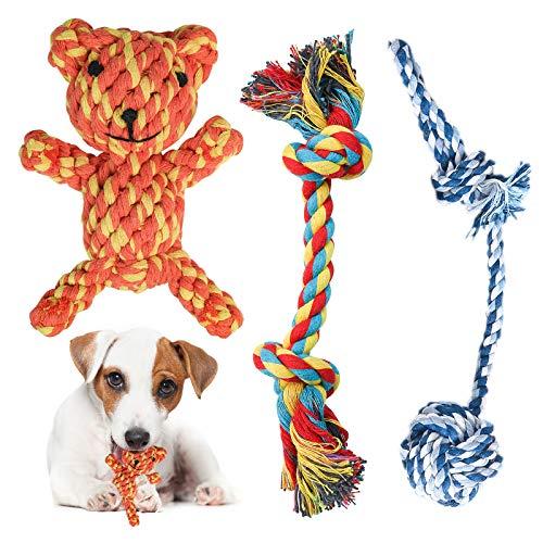 Perro Mascota Juguetes Interactivos, Cuerdas de Nudo, Bolas, Oso Juguetes Interactivos para Mantener a su Perro Sano