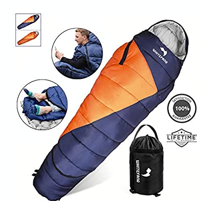 WhiteFang Sleeping Bag with Compression Sack,Lightweight and Waterproof for Adults Cold Weather,3-4 Season Mummy Sleeping Bags Great for Hiking, Backpacking,Camping