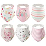 <span class='highlight'><span class='highlight'>Discoball</span></span> 6 PCS Lovely Infant Baby and Toddler Bandana Drool Bibs 100% Absorbent Cotton Front Saliva Towel Dribble Bibs, Pink Pack(girl Design), 26