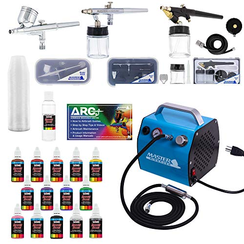 Master Airbrush Professional Airbrush Kit with Compressor, Air Hose and 12 Color US Art Supply Airbrush Paint Set with Cleaner & Paint Reducer