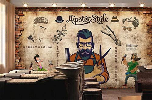 MINCOCO Retro Nostalgische Baksteen Muur Man Haar Salon Barber Shop Achtergrond Behang Haar Cut Store Industrieel Decor Mural Wall Paper 3D 250 x 175 cm.