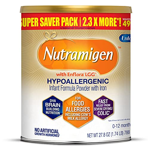 Enfamil Nutramigen Infant Formula, Hypoallergenic and Lactose Free Formula with Enflora LGG, Fast Relief from Severe Crying and Colic, DHA for Brain Support, Powder Can, 27.8 Oz