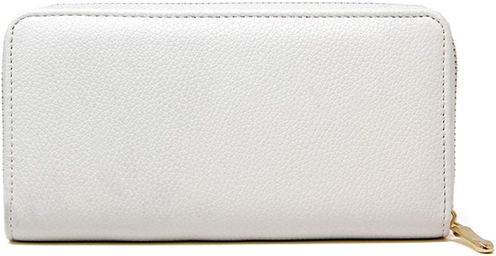 Me Plus Women Fashion Solid Color Faux Leather PU Long Wallet with Zipper Closure Card Slots Zippered Coin Pouch