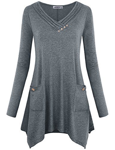 MOQIVGI Asymmetrical Tops for Women,Cowl Neck Sweatshirt Long Sleeve A Line Drapey Swing Blouse Trendy Buttons Deco Form Fitting Shirts Comfy Hem Tunics Contemporary Designer Clothes Grey Medium