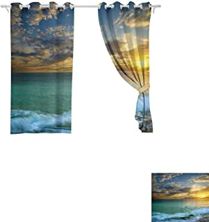 DONEECKL Bedroom Windproof Curtain Ocean Decor Transverse Seascape of Sunset and a Rocky Coast of Crimea with Waves Scenery Picture Privacy Protection W63 x L72 inch 70