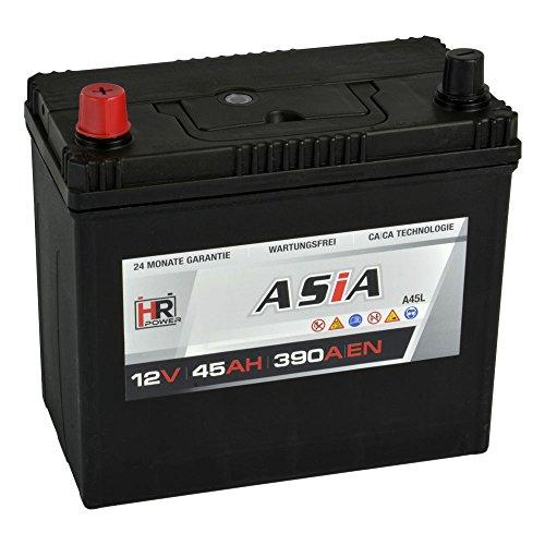 HR HiPower ASIA Autobatterie 12V 45Ah Japan Pluspol Links Starterbatterie ersetzt 35Ah 40Ah 50Ah