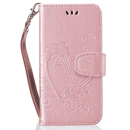 Huawei P9 Lite H/ülle,THRION PU Schmetterling Brieftaschenetui mit magnetischer Handschlaufe und St/änderhalterung f/ür Huawei P9 Lite Blau