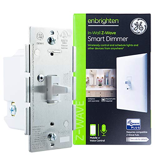GE 14295 Enbrighten Z-Wave Plus Smart Light Dimmer, Works with Alexa, Google Assistant, SmartThings, Zwave Hub Required, Repeater/Range Extender, 3-Way Ready, 1st Gen. Toggle, White 1-pack