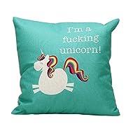 Home Decor Cotton Linen Pillow Shams Square Unique Printed Farnhouse Decorative Unicorn Pattern Pillow Covers Sofa Throw Pillow Case Cushion Cover 18 x 18 Inches,Funny Unicorn Gifts