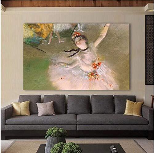 YGKDM Embelish Figure Canvas Art Edgar Degas Bailarina Bailarina Imágenes de Pared clásicas para Sala de Estar Decoración para el hogar Pintura Impresa 50x75cm Enmarcado como imágenes