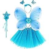 Hada Princesa Disfraz para Niñas, 4 Unids Vestido Elegante de Mariposa con Falda Tutú con Brillos Varita Mágica Estrella y Diadema, Juego de Infantil de Disfraz Mariposa para Mascarada Carnaval, Azul