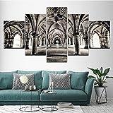 Xzfddn - Cuadro de lienzo para pared, 5 unidades, diseño de puerta de arco en blanco y negro