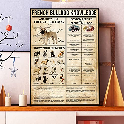 Funny Cosmos French Bulldog Poster, French Bulldog Knowledge Poster, Home Living Decor Wall Art, Dog Lovers Gift (Poster-16 x24)