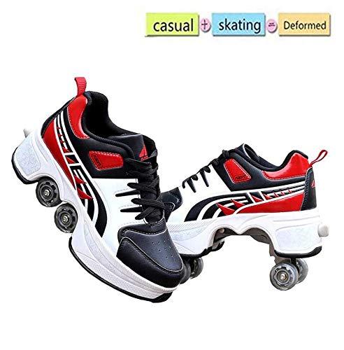 nnn Skate Roller Deportivos Zapatos Skate Zapatillas Automáticamente Retráctiles Zapatos De Roller con 4 Ruedas Skateboard Zapatos Aire Libre Gimnasia Skateboard Sneaker para Niños Y Niñas,Red-41