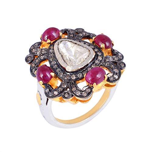 Anillo de diamantes y rubí con piedras preciosas reales de 0,49 quilates de diamante natural marrón (claridad I2-I3) en plata de ley 925 con anillos de oro de 14 quilates para mujeres regalos marrón