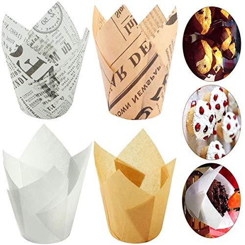 Papierförmchen in Tulpenform,Biluer 200PCS Cupcake Förmchen Backförmchen Zeitung Backbecher Papier Tulpen Backpapier für Kinder Geburtstag Party Hochzeit Kuchen Deko