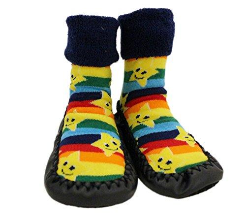 Zapatillas de andar por casa para bebé con calcetines con estampado de estrellas y arco iris. Para niños de 1 a 3 años
