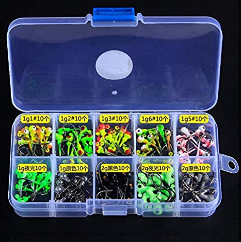 Fishcm Fishing Jigs with Fishing Tackle Box - Fishing Hooks Saltwater Set Kit Freshwater Fish Jig Heads (100pcs 1g~2g)