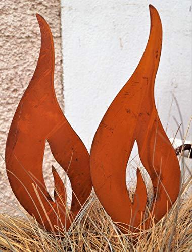2 Rostoptik Flammen zum Stecken (F28) 34x10cm Weihnachten Garten Dekoration