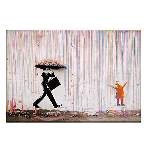 LAIDEPA Street Art Graffiti Malerei Banksy Regenschirm Serie Leinwand Malerei, Heimdekoration HD-Druck rahmenloses Wandbild,80 * 120cm