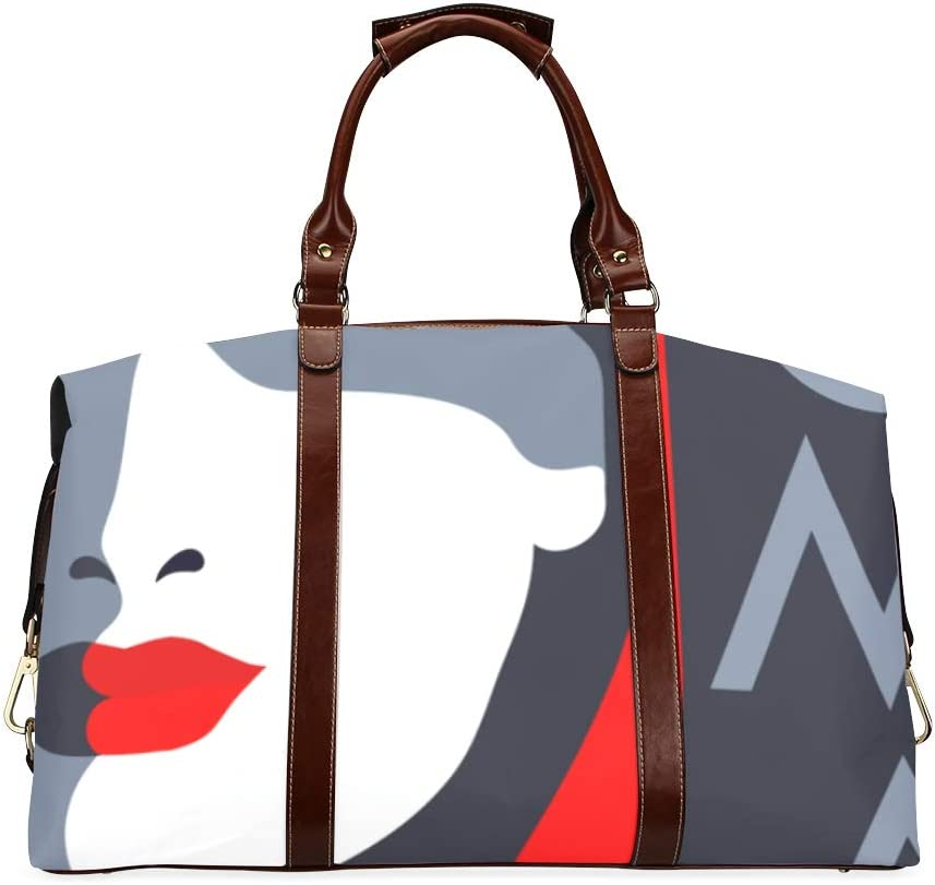 Max 76% OFF Simple Duffel Bag Super special price Black Cap And Woman Oversized Lip Classic Red