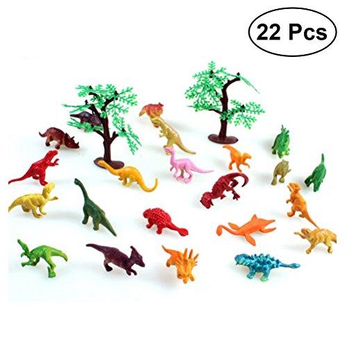 YeahiBaby 24 piezas Mini Dinosaur Toy Set Dinosaurio realista figuras de juguete con árboles para niños y niños pequeños (22pcs Dinosaurio y 2pcs árboles)