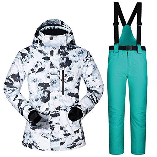 STEDMNY Skianzug 2019 Neue Skianzug Herren Winter Warm Winddicht Wasserdicht Schnee Jacken und Hosen Heiße Skiausrüstung Snowboardjacke Herren, SQH Mint Green, XXL