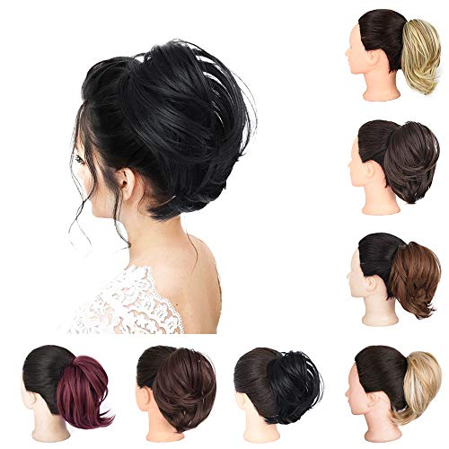 AISI BEAUTY Synthetic Messy Bun Hair Scrunchies Updo Messy Bun Hair Piece Black for Women
