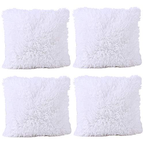 JOTOM Housse de Coussin Couleur Pure Fourrure Taie d'oreiller pour Canapé Maison Salon Chambre Décoration D'intérieur, 43x43cm, Ensemble de 4 pièces(Fourrure|Blanc)