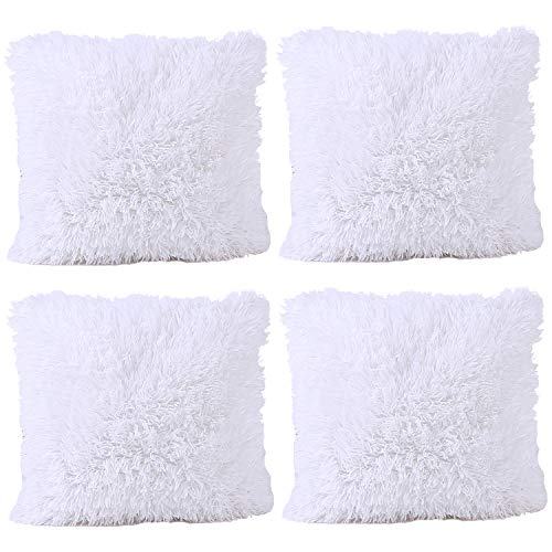 JOTOM Soft Solid Color Cushion Covers Waist Pillow Throw Case Square Pillow Cover for Car Seat Home Sofa Decor 43x43cm,Set of 4(White)