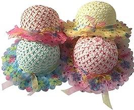 JIAKAI Girls Sunflower Straw Tea Party Hat Set (8 Pcs, Assorted Colors)