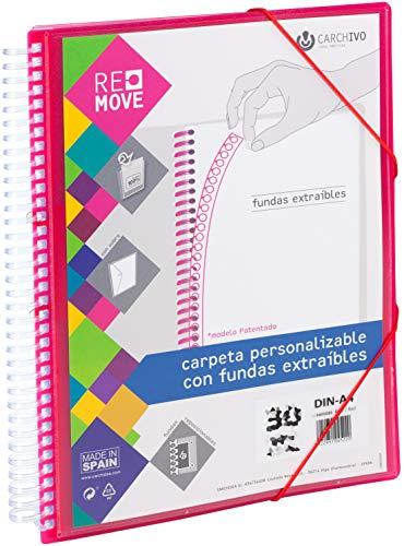 Carchivo - Carpeta Remove personalizable de 40 fundas extraíbles, color rojo, 8422951045299