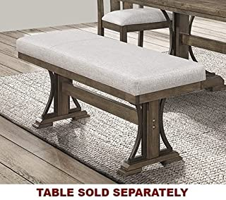 Quincy Grayish Brown Wood Bench w/Padded Fabric Seat by Crown Mark