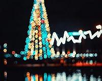 クリスマスツリーのまぶしさボケ照明新年Diyデジタル絵画数字による現代の壁アートキャンバスペイントホリデーギフト家の装飾大きなサイズの油絵の具カラー原稿 カスタマイズ可能 60x75cmフレームなし