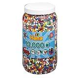Hama Perlen 211-00 Bügelperlen XXL Dose mit ca. 13.000 bunten Midi Bastelperlen mit Durchmesser 5 mm im 10 Farben Mix, kreativer Bastelspaß für Groß und Klein -