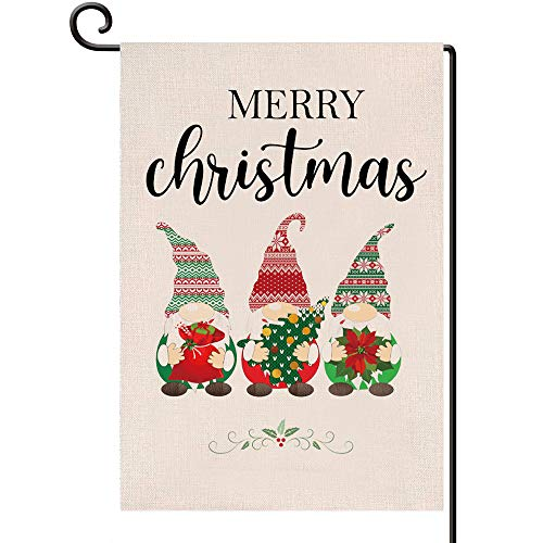 Disheen Gnomes Christmas Garden Flags 12 X 18 Double Sided, Merry Christmas Yard Garden Flag, Gnomes Christmas Ornament Decorations Clearance Outdoor
