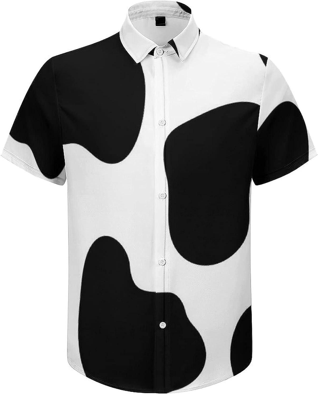 Mens Button Down Shirt Cow Print Casual Summer Beach Shirts Tops