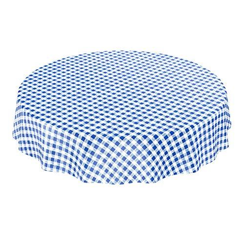 ANRO tafelkleed wastafelkleed wasdoek tafelkleed Karo klassiek per meter blauw rond 100cm
