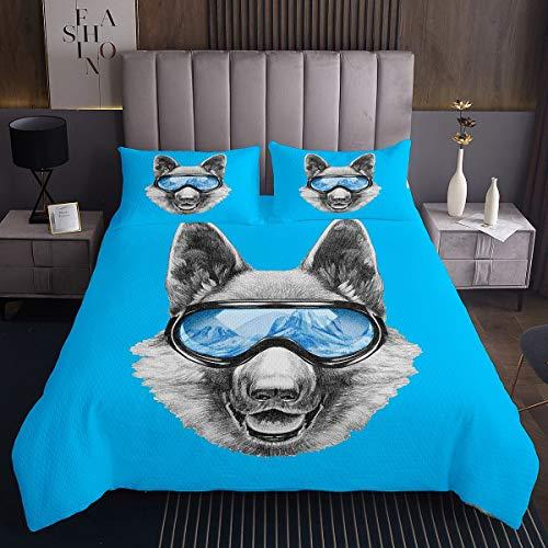 Cool Wolf Colcha para niñas y niños,de Animales de Safari Acolchado, Juego de Funda de Estilo de Vida Silvestre con Acolchado para Llevar Gafas de Sol, Color Azul, , 3 Unidades