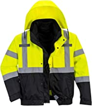 Brite Safety Hi Vis Premium 3-in-1 Bomber Jacket -High Visibility Reflective Waterproof Rain Jackets for Men and Women (Yellow/Black,Large)