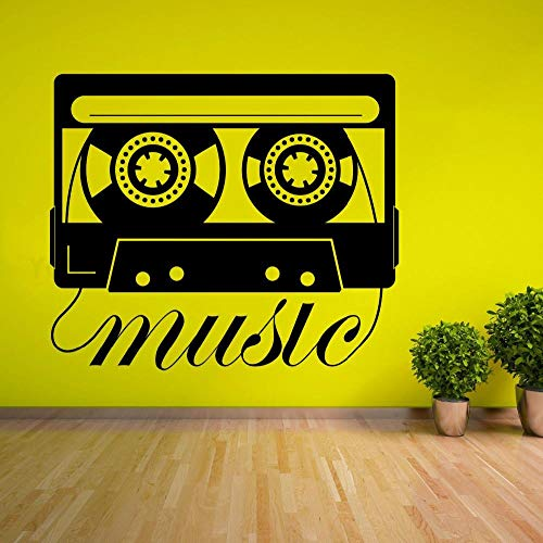 MRQXDP Muziek Stijl Muursticker Muziek Cassette Muursticker Tape Recorder Ontwerp Mural Muziek Speler Stickers voor Home Decor 67x57cm Dorm Muursticker