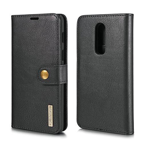 xinyunew Schutzhülle OnePlus 8 Pro Hülle Phone Hülle 2 in 1 Lederhülle Schwarz Echtleder Hülle Leder Tasche Flip Cover für Original OnePlus 8 Pro - Wallet Hülle