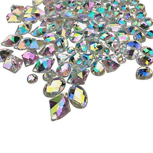 200PCS Crystal Gems AB Acrylic Flatback Sew On Diamante Rhinestones with Mixed Shapes for DIY Crafts Handicrafts Clothes Bag Shoes Decorations by CSPRING