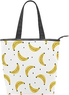 N/Q Obst-Bananas gelbe Segeltuch-Tragetasche mit Reißverschluss, große Damen-Schultertasche Handtasche, wiederverwendbar, strapazierfähig, für den Außenbereich