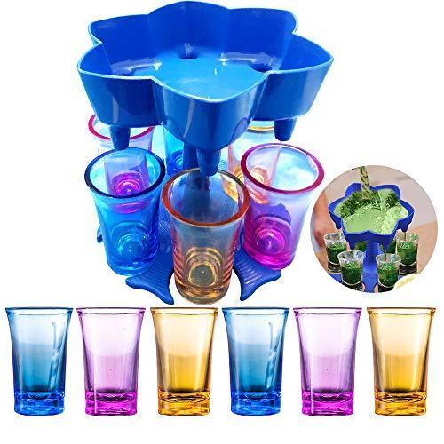 ENIVING - Dispensador de 6 vasos de chupito, dispensador de cócteles, levantadores de cócteles, fiestas y juegos, dispensador de botellas de licor