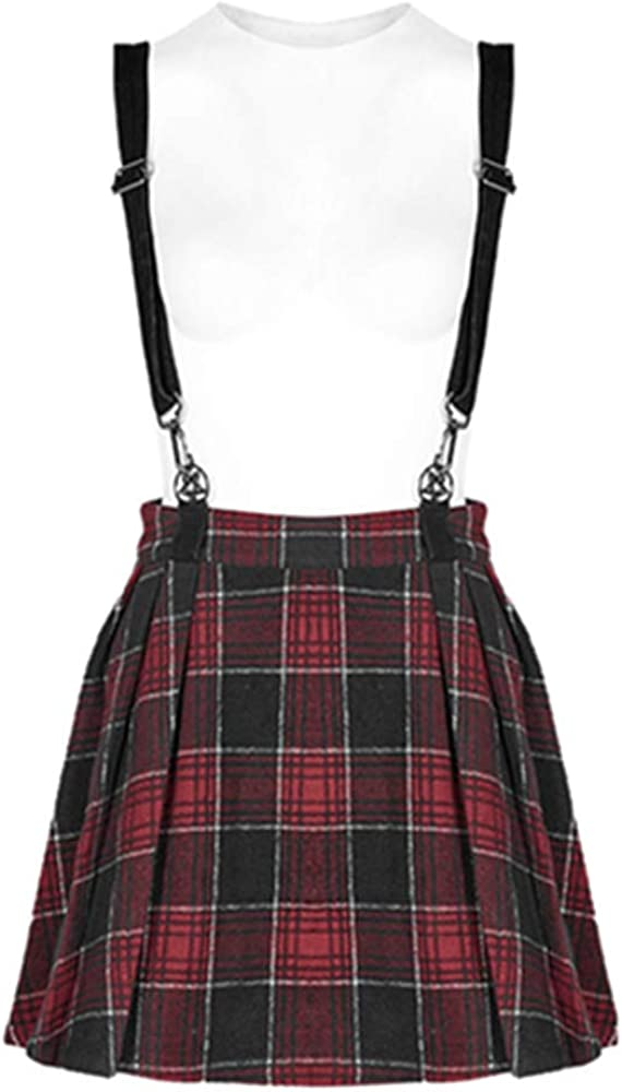 Punk Rave Women's Dark Girl A Pendulum Plaid Suspender Half Skirt Punk Casual Mini Skirt for Women