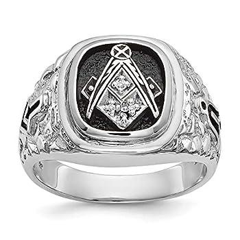 Solid 14k White Gold Diamond Men s masonic Ring Band Size 10  .019 cttw