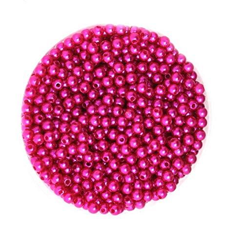 100-1000Pcs / bolsa Cuentas de perlas de imitación para pulsera, collar, fabricación de joyas, ropa, accesorios de decoración del hogar (4 6 8 10 mm), fucsia, 8 mm aprox.150 piezas